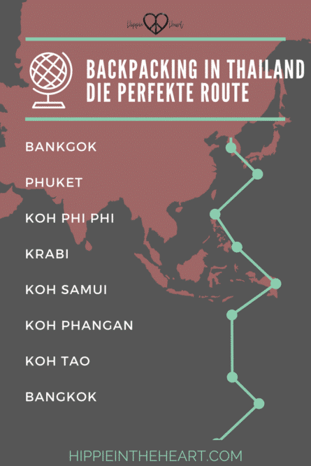 Backpacking in Thailand - Die perfekte Route - Pinterest Karte Route