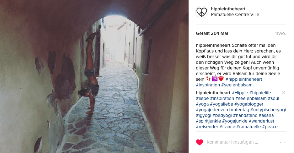 Yoga Bilder auf Instagram Hippie in the Heart